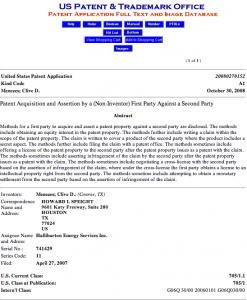Halliburton Troll Patent Filing