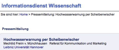 Mechtild Freiin v. Münchhausen: Hochwasserwarnung per Scheibenwischer